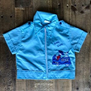 Vintage Blue Collared Boys Shirt Fire Engine 12 mo